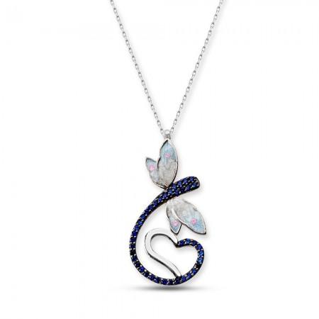 - 925 Ayar Gümüş Mavi Zirkon Taşlı Kalpli Yusufçuk Kolye