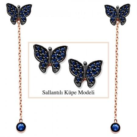 Tesbihane - 925 Ayar Gümüş Mavi Zirkon Taşlı Kelebek Model Japon Sallantılı Küpe