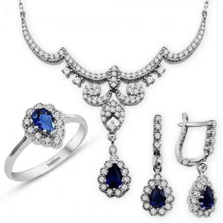 - 925 Ayar Gümüş Mavi Zirkon Taşlı Kraliçe Set