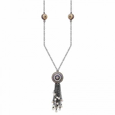 Tesbihane - 925 Ayar Gümüş Mavi Zirkon Taşlı Otantik Kolye