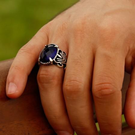 - 925 Ayar Gümüş Mavi Zirkon Taşlı Pençe Yüzük