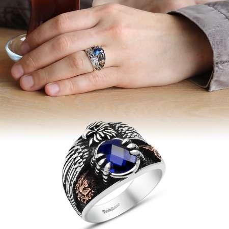 - Mavi Zirkon Taşlı 925 Ayar Gümüş Son İmparator Yüzüğü