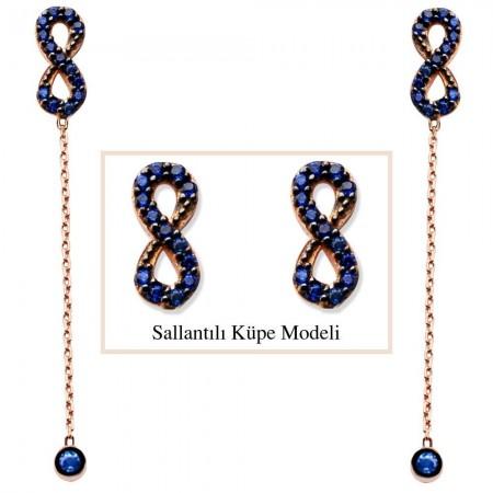 - 925 Ayar Gümüş Mavi Zirkon Taşlı Sonsuzluk Model Japon Sallantılı Küpe