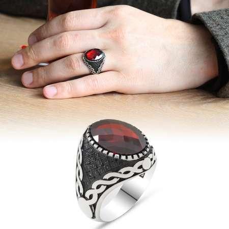 Tesbihane - 925 Ayar Gümüş Mikro Taş İşlemeli Kırmızı Zirkon Taşlı Erkek Yüzük