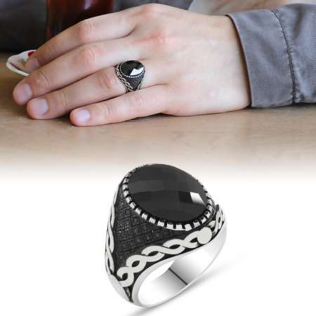 Tesbihane - 925 Ayar Gümüş Mikro Taş İşlemeli Siyah Zirkon Taşlı Erkek Yüzük