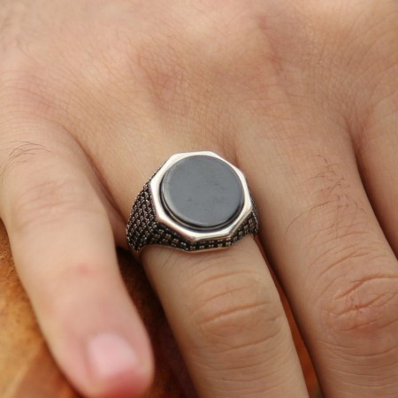 Tesbihane - 925 Ayar Gümüş Mikron Zirkon Taşlı Oniks Yüzük