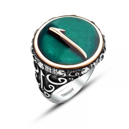 Tesbihane - 925 Ayar Gümüş Mine Üzerine Elif Harfli Yüzük