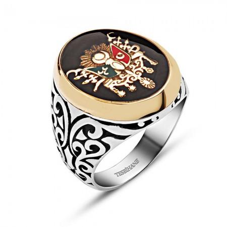 - 925 Ayar Gümüş Mineli Osmanlı Devlet Armalı Özel Tasarım Yüzük