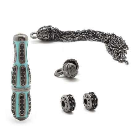 Tesbihane - 925 Ayar Gümüş Mineli - Siyah Zirkon Taşlı İmame-Püskül Seti (M-2)