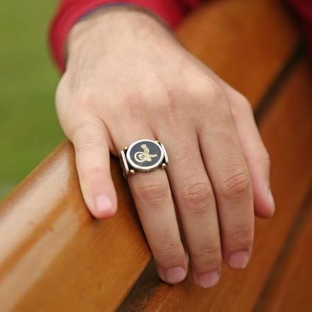 925 Ayar Gümüş Mineli Tuğralı Model Özel Tasarım Yüzük - Thumbnail