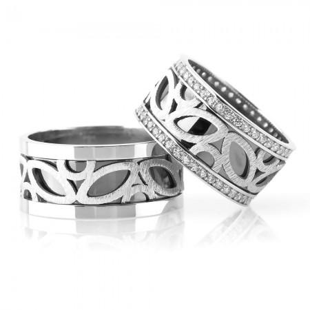 - 925 Ayar Gümüş Modern Desenli Çift Alyans