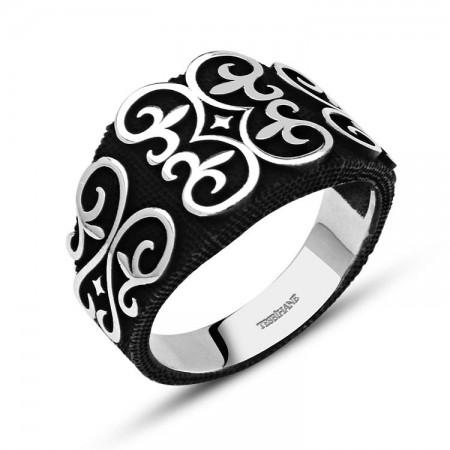 Tesbihane - 925 Ayar Gümüş Motifli Siyah Yüzük