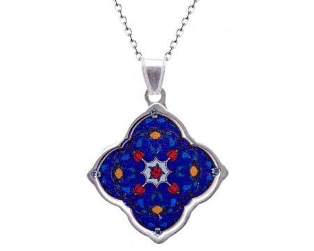 Tesbihane - 925 Ayar Gümüş Mozaik Desenli Kolye