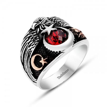 Tesbihane - 925 Ayar Gümüş Muhafız Kartal Kırmızı Zirkon Taşlı Ayyıldız Yüzük