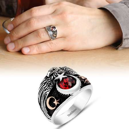 Tesbihane - Ayyıldız Motifli Kırmızı Zirkon Taşlı 925 Ayar Gümüş Muhafız Kartal Yüzük