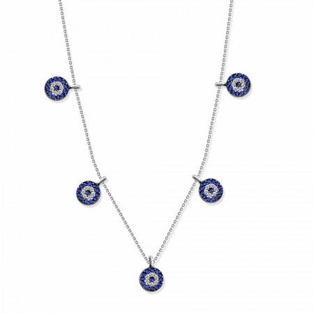 Tesbihane - 925 Ayar Gümüş Nazar Kolye (SDR009)