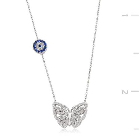 Tesbihane - 925 Ayar Gümüş Nazarlı Kelebek Kolye
