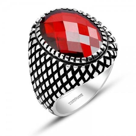 Tesbihane - 925 Ayar Gümüş Nokta Desenli Kırmızı Zirkon Taş Yüzük