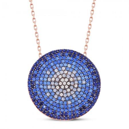 Tesbihane - Okyanus Renkli Zirkon Taşlı Yuvarlak Tasarım 925 Ayar Gümüş Bayan Kolye