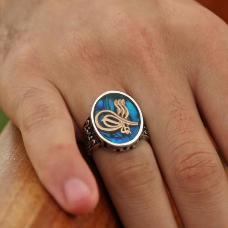 Tesbihane - 925 Ayar Gümüş Okyanus Sedefli Kaptan-ı Derya Yüzüğü