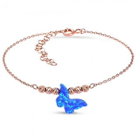 Tesbihane - Okyanus Sedefli Kelebek Tasarım 925 Ayar Gümüş Bayan Bileklik