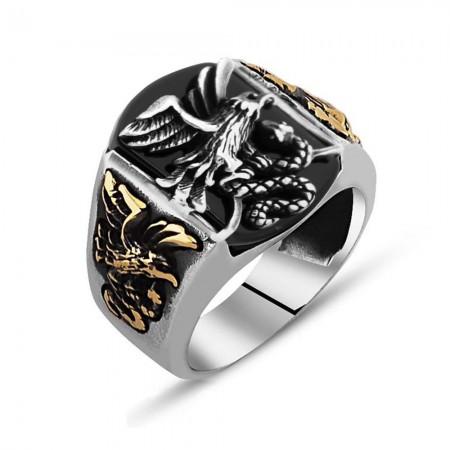 Tesbihane - Kartal İşlemeli Siyah Oniks Taşlı 925 Ayar Gümüş Avcı Yüzüğü