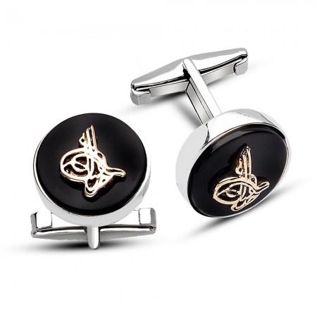 Tesbihane - 925 Ayar Gümüş Oniks Taşı Üzerine Tuğralı Sade Tasarım Kol Düğmesi