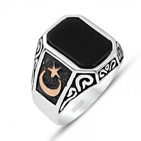 925 Ayar Gümüş Oniks Taşlı Ayyıldız Model Yüzük - Thumbnail