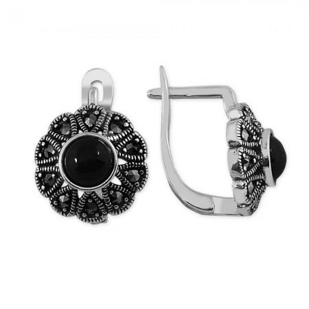 Tesbihane - 925 Ayar Gümüş Oniks Taşlı Çiçek Küpe