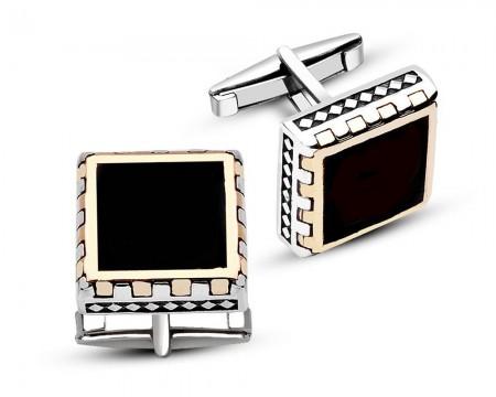 - 925 Ayar Gümüş Oniks Taşlı Kare Tasarım Kol Düğmesi