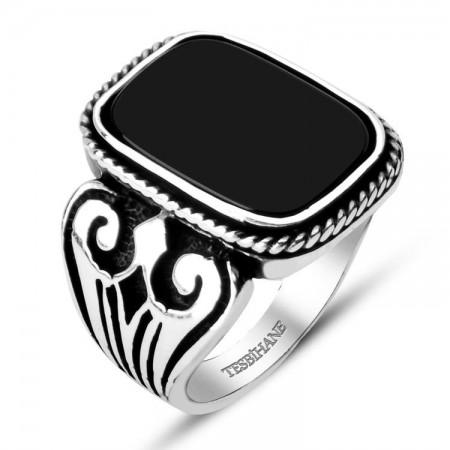Tesbihane - 925 Ayar Gümüş Oniks Taşlı Kare Yüzük