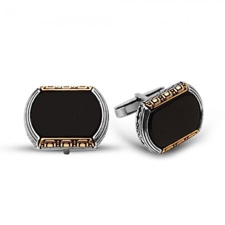 - 925 Ayar Gümüş Oniks Taşlı Kol Düğmesi (model 1)