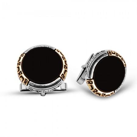 - 925 Ayar Gümüş Oniks Taşlı Kol Düğmesi (model 2)
