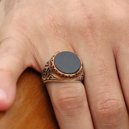Tesbihane - 925 Ayar Gümüş Oniks Taşlı Oval Yüzük