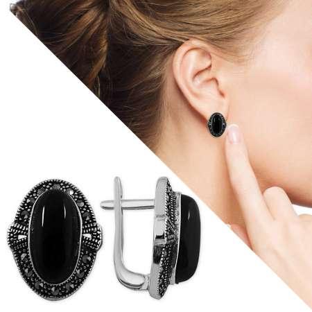 - Siyah Oniks Taşlı Özel Tasarım 925 Ayar Gümüş Küpe