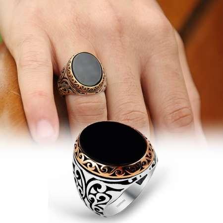 - Siyah Oval Oniks Taşlı 925 Ayar Gümüş Erkek Yüzük