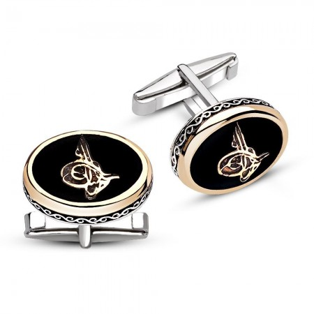 - 925 Ayar Gümüş Oniks Taşlı Tuğra Model Kol Düğmesi