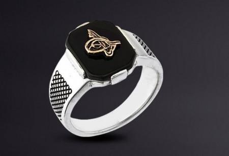 925 Ayar Gümüş Oniks Taşlı Tuğralı Model Yüzük - Thumbnail