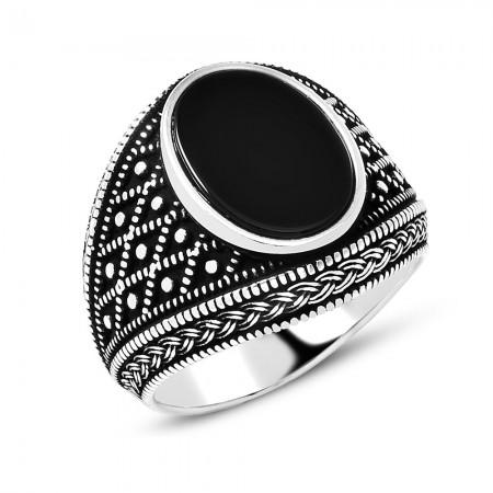Tesbihane - Baklava Desen İşlemeli Siyah Oniks Taşlı 925 Ayar Gümüş Erkek Yüzük