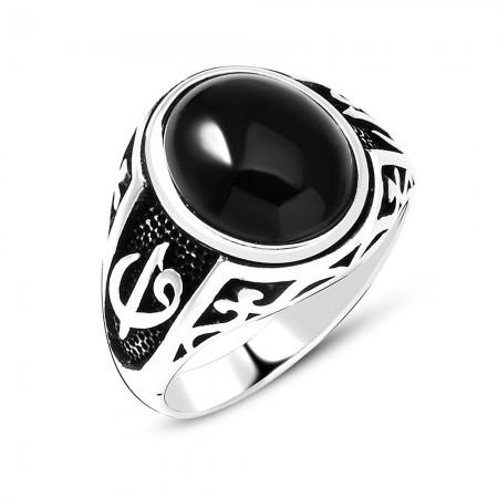 Tesbihane - Elif Vav İşlemeli Siyah Oniks Taşlı 925 Ayar Gümüş Erkek Yüzük