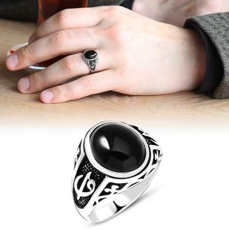Elif Vav İşlemeli Siyah Oniks Taşlı 925 Ayar Gümüş Erkek Yüzük - Thumbnail