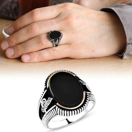 Tesbihane - Tuğra İşlemeli Siyah Oval Oniks Taşlı 925 Ayar Gümüş Erkek Yüzük