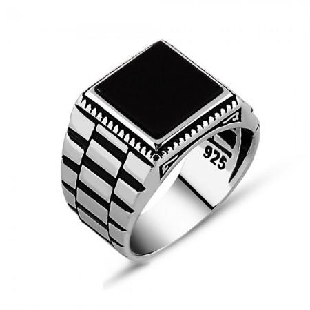 Tesbihane - Simetrik Desenli Siyah Oniks Taşlı 925 Ayar Gümüş Erkek Yüzük