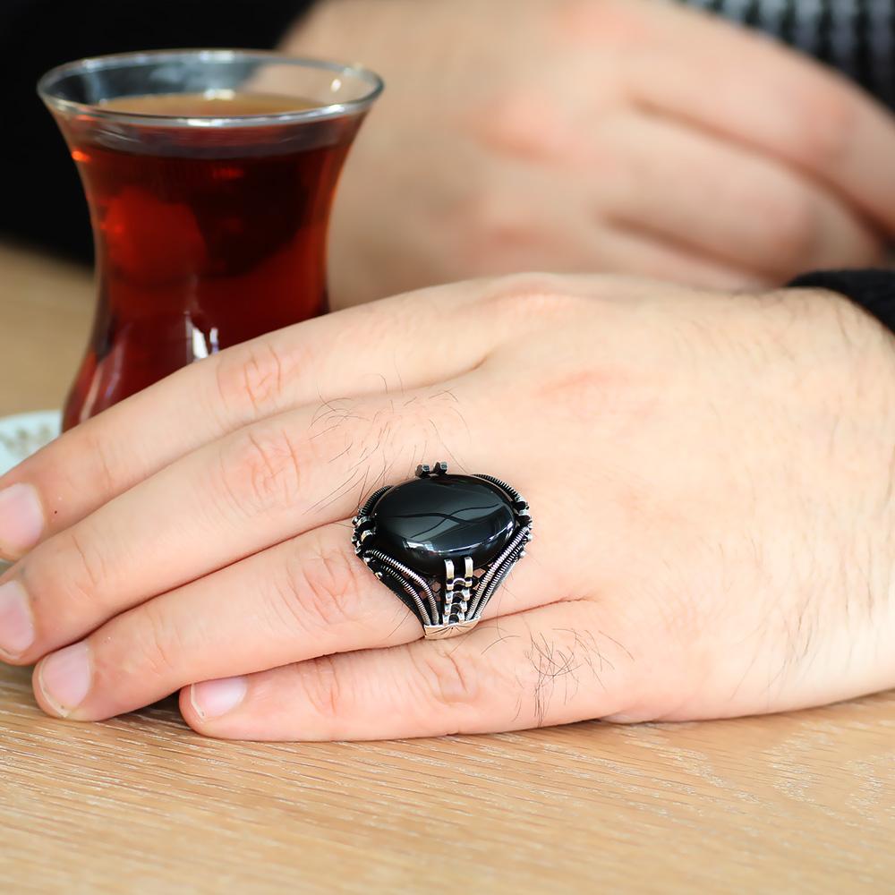 Tırnak Tasarım Siyah Oniks Taşlı 925 Ayar Gümüş Erkek Yüzük