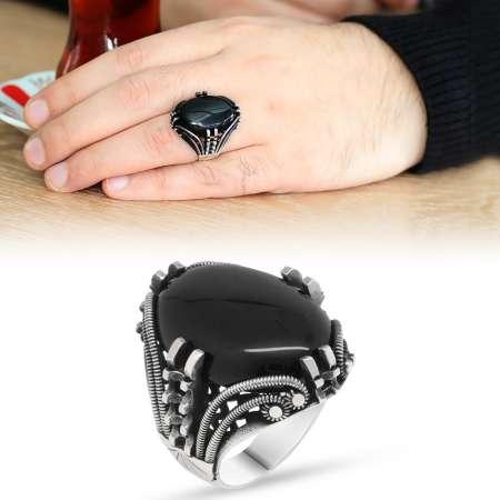 Tesbihane - Tırnak Tasarım Siyah Oniks Taşlı 925 Ayar Gümüş Erkek Yüzük
