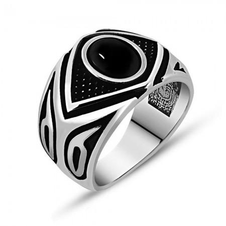 - Mikron Taş İşlemeli Siyah Oniks Taşlı 925 Ayar Gümüş Erkek Yüzük