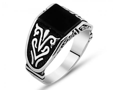 Tesbihane - Kare Siyah Oniks Taşlı 925 Ayar Gümüş Erkek Yüzük