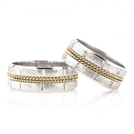 - Çift Sıra Örgü Tasarım Zarif Model 925 Ayar Gümüş Çift Alyans