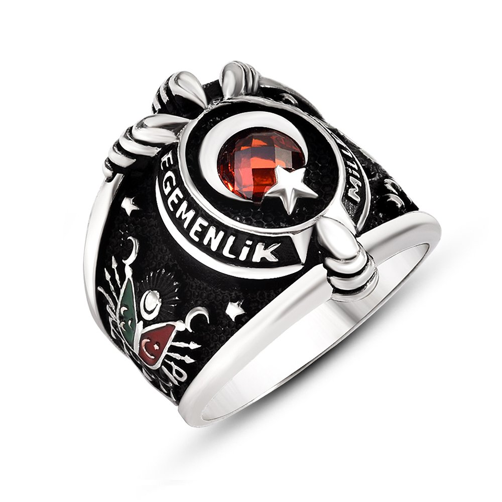 Armalı Pençe Tasarım Kırmızı Zirkon Taşlı 925 Ayar Gümüş Erkek Yüzük