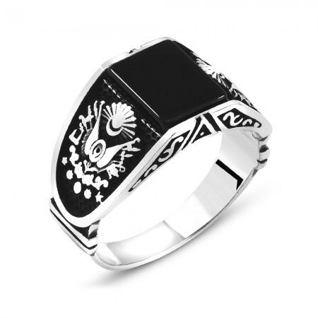 Tesbihane - Osmanlı Devlet Armalı Siyah Oniks Taşlı 925 Ayar Gümüş Erkek Yüzük